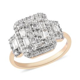 9K Yellow Gold SGL Certified Natural Diamond (I3/G-H) Cluster Ring 1.04 Ct.