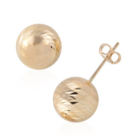 9K Yellow Gold Diamond Cut Ball Stud Earrings (with Push Back)