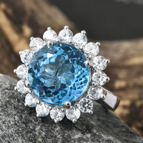 TJC Launch - 16 Carat Marambaia Topaz and Natural Cambodian Zircon Halo Ring in Platinum Plated Silver 5.69 grams