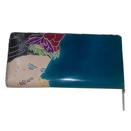 Special Edition100% Genuine Leather Frieda Kahlo Hand Painted Extra Large Clutch Wallet with RFID Blocking (Size 22x11.5x2 Cm)