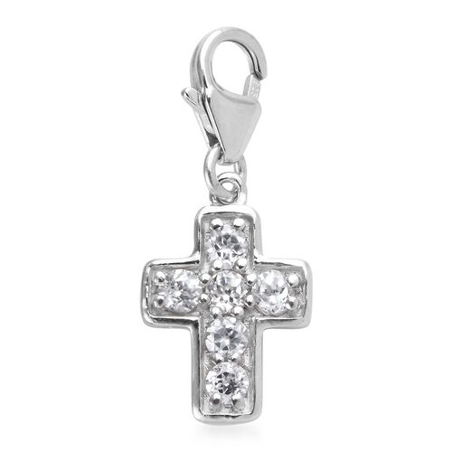 Natural Cambodian Zircon Cross Charm in Platinum Overlay Sterling Silver