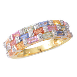 Extremely Rare Baguette Cut Rainbow Sapphire and Natural White Cambodian Zircon Ring in Yellow Gold
