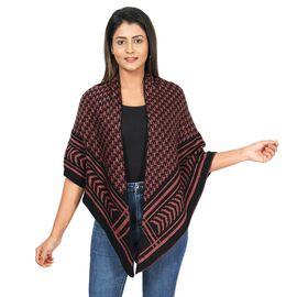 Jacquard Knit Kimono (L: 100m, W: 100cm) - Black and Sandstone Colour