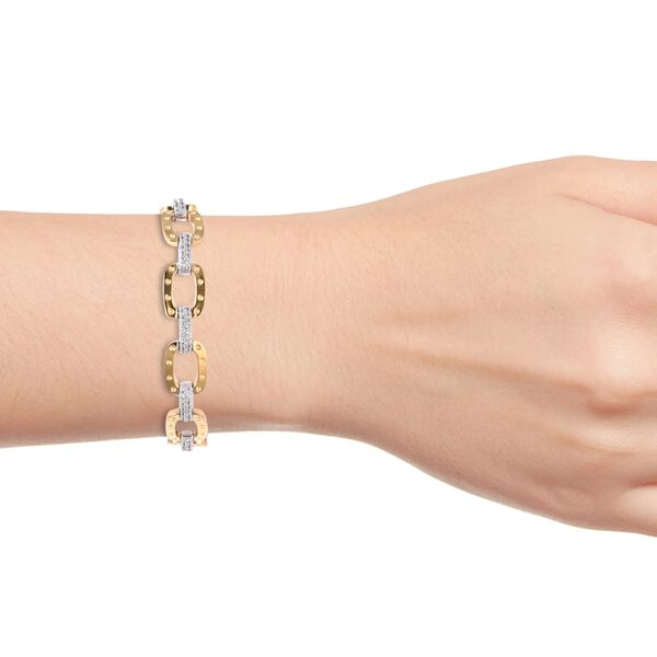 RACHEL GALLEY - Majestic Collection- Natural White Cambodian Zircon (Rnd) Bracelet (Size 6.75) in Rhodium and Yellow Gold Plated Sterling Silver