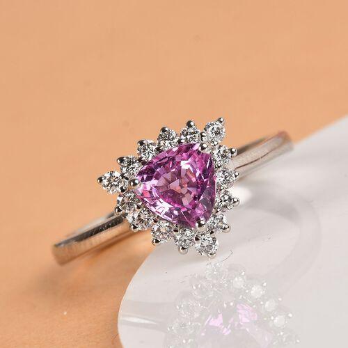 RHAPSODY 950 Platinum AAAA Madagascar Pink Sapphire and Diamond (VS/E-F) Ring 1.10 Ct, Platinum wt. 4.70 Gms