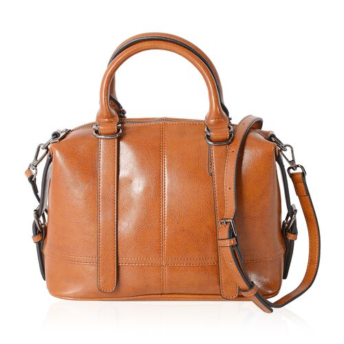Close Out Deal100% Genuine Leather Tan Colour Tote Bag with External Zipper Pocket and Removable Sho