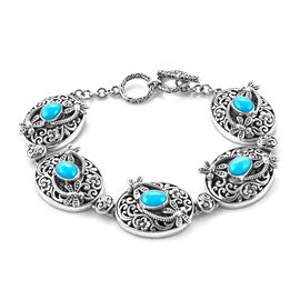 Royal Bali Collection - Arizona Sleeping Beauty Turquoise Floral Dragonfly Toggle Bar Bracelet (Size