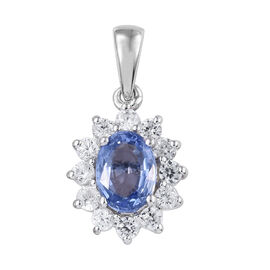 9K White Gold Royal Ceylon Sapphire (Ovl), Natural Cambodian Zircon Pendant 1.650 Ct.