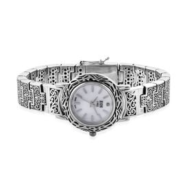 Royal Bali Collection EON 1962 Swiss Movement Sterling Silver Filigree Design Bracelet Watch (Size 8