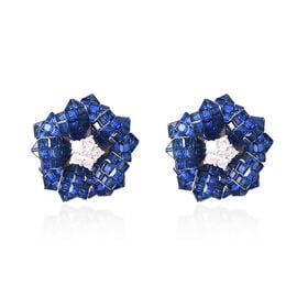 Lustro Stella - Mystery Setting Simulated Blue Sapphire and Simulated Diamond Floral Stud Earrings (