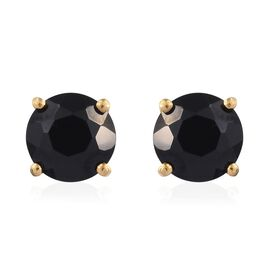 Boi Ploi Black Spinel (Rnd) Stud Earrings (with Push Back) in 14K Gold Overlay Sterling Silver 3.500