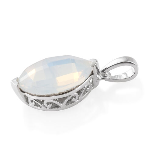 J Francis Crystal From Swarovski - Crystal Opal (Mrq 14x11 mm) Solitaire Pendant in Sterling Silver