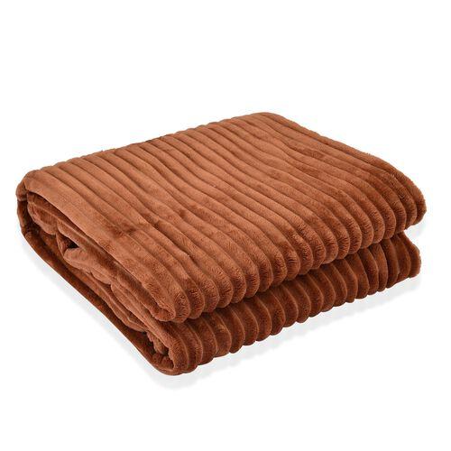 Superfine Cognac Colour Microfiber Corduroy Plush Blanket 305X200 cm