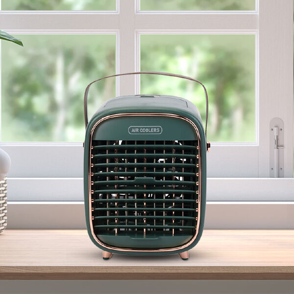Retro Portable Cordless Air Cooling Fan with Mist Spray (Size 15x14.5x18cm) - Green