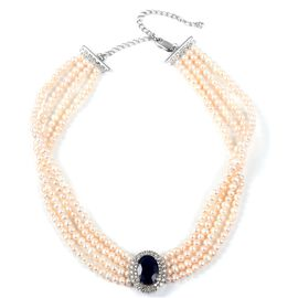 High End Inspired- Madagascar Blue Sapphire (Ovl 14x10 mm, 6.75 Ct), Fresh Water Pearl and Natural White Zircon Chocker Necklace (Size 16.5) in Sterling Silver 225.07 Ct,