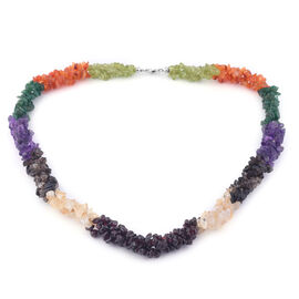 One Time Deal-Multi Colour Gemstones Necklace (Size - 20) in Platinum Overlay Sterling Silver 333.20