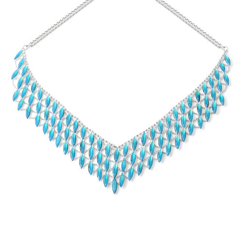Simulated Blue Stone Waterfall BIB Necklace 20 with 3 inch Extender
