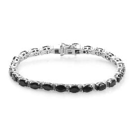 GP 6.93 Ct Elite Shungite and Multi Gemstone Tennis Bracelet in Platinum Plated Silver 7 Inch