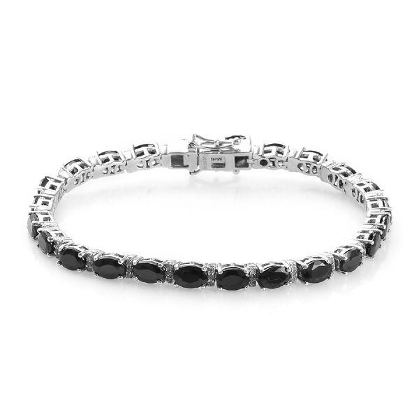 GP 6.93 Ct Elite Shungite and Multi Gemstone Tennis Bracelet in Platinum Plated Silver 7 Inch