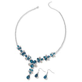Simulated London Blue Topaz (Pear), White Austrian Crystal Drop Hook Earrings and Necklace (Size 20.50 and 2.5 inch Extender) in Silver Tone