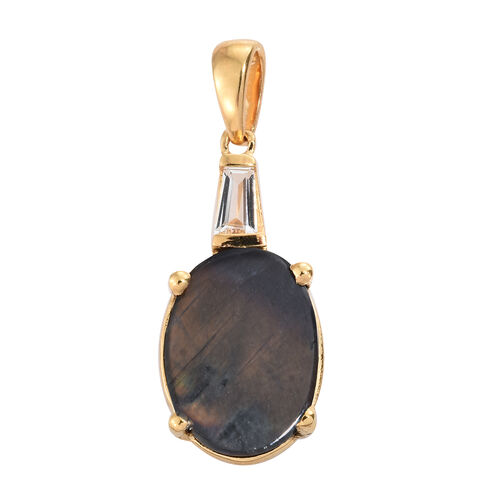 Natural Spectrolite (Ovl 2.50 Ct), White Topaz Pendant in 14K Gold Overlay Sterling Silver 2.750 Ct.
