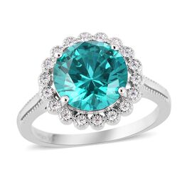 ELANZA Simulated Paraiba Tourmaline and Diamond Halo Ring in Rhodium Plated Silver