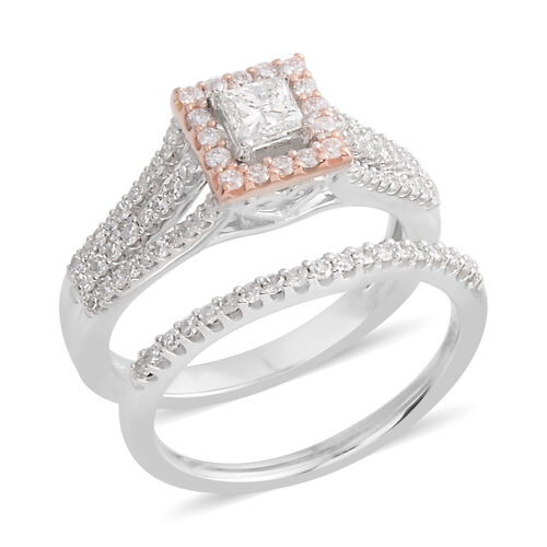 New York Close Out - Set of 2- 14K White and Rose Gold Diamond (Rnd) (I1-I2/G-H) Ring 1.000 Ct.