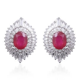 African Ruby (Ovl 5.50 Ct), White Topaz Earrings (with French Clip) in Rhodium Overlay Sterling Silver 7.300 Ct, Silver wt 6.00 Gms.