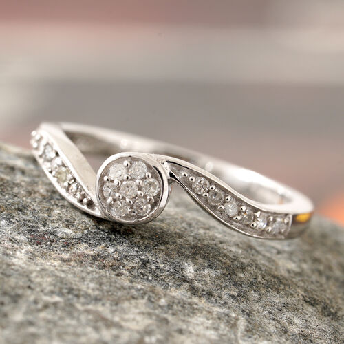 Diamond (Rnd) Swirl Ring in Platinum Overlay Sterling Silver 0.150 Ct.