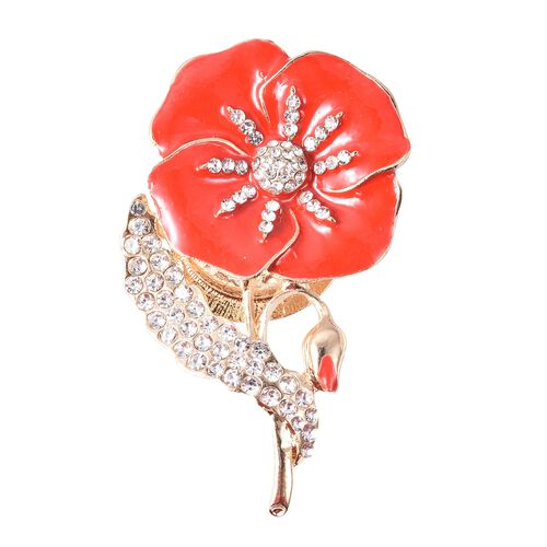 Poppy Design White Austrian Crystal Poppy Floral Magnetic Brooch in Gold Tone