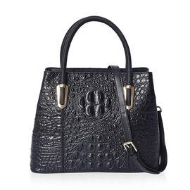 100% Genuine Leather Croc Embossed Tote Bag (Size 29x12x22.5 Cm)  - Black