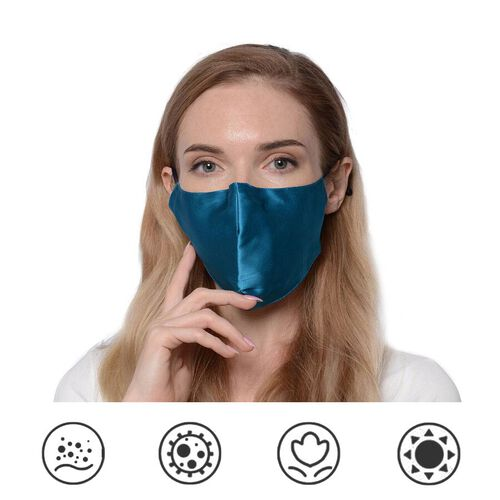 100% Mulberry Silk Face Cover with 7 pcs Melt Blown Cotton Pad (Size 22.5x14 Cm) - Ocean Blue