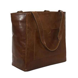 Assots London NADIA Womens Large Capacity Full Grain Leather Tote Bag (Size 47x34x14cm) - Tan