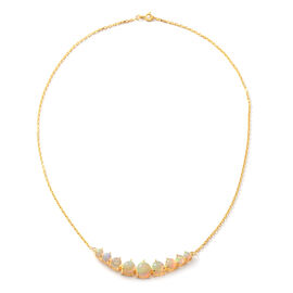 5 Carat Ethiopian Opal Beaded Necklace in Gold Plated Sterling Silver 5 Grams 18 Inch