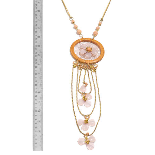 Simulated Rose Quartz, Simulated Peach Moonstone and Brown Colour Floral Dream Catcher Necklace (Size 30 with 2 inch Extender) and Matching Key Chain in Gold Tone