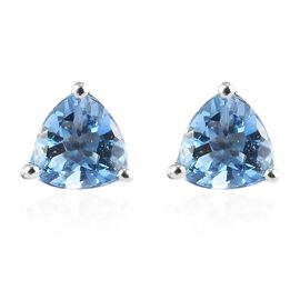 RHAPSODY 950 Platinum Santamaria Aquamarine Stud Earrings 0.74 Ct.