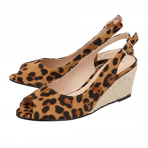 Lotus Leopard-Print Tiffany Wedge Shoes (Size 4)