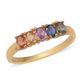 1.20 Ct Rainbow Sapphire Five Stone Ring in Gold Plated Silver