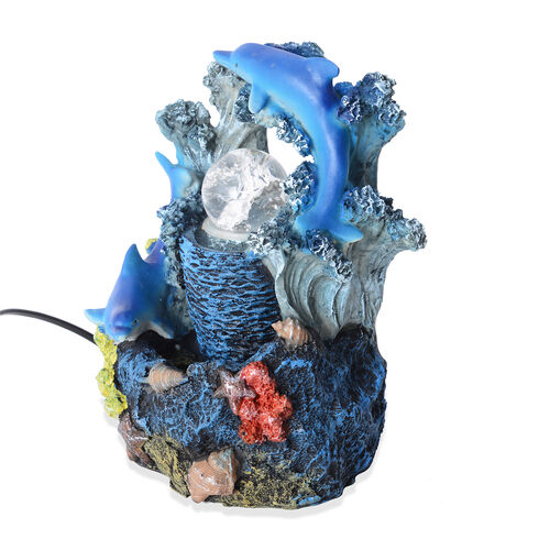 Home Decor - Ocean World with Dolphins Water Fountain with LED Light