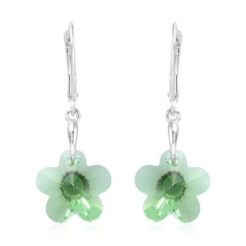 Peridot Colour Crystal From Swarovski Floral Drop Earrings in Sterling Silver