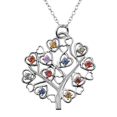 Rainbow Sapphire (Rnd) Tree Pendant with Chain (Size 18) in Rhodium Plated Sterling Silver