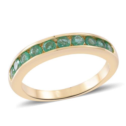 ILIANA 18K Yellow Gold AAA Kagem Zambian Emerald (Rnd) Half Eternity Band Ring 1.000 Ct. Gold Wt 4.7