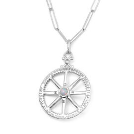 Ethiopian Opal (0.75 Ct),Combodian Zirocn Platinum Overlay Sterling Silver Fancy Pendant With Chain