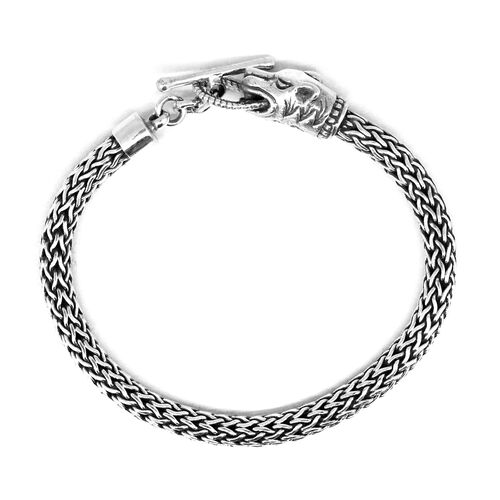 Thai Sterling Silver Panther Head Bracelet (Size 7.5), Silver wt 28.04 Gms.