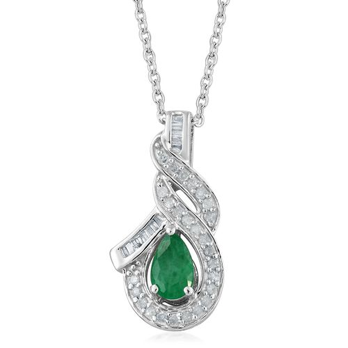 AA Kagem Zambian Emerald (Pear 1.00 Ct), Diamond Pendant with Chain in Platinum Overlay Sterling Silver 1.050 Ct.