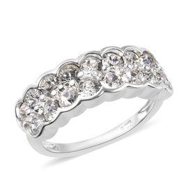 J Francis - Crystal from Swarovski White Crystal Half Eternity Ring in Sterling Silver