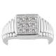 J Francis Platinum Overlay Sterling Silver Signaet Ring Made with SWAROVSKI ZIRCONIA 1.05 Ct.
