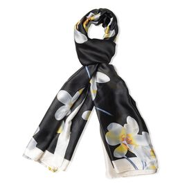 Designer Inspired-Black and White Colour Floral Pattern Scarf (Size 180x90 Cm)