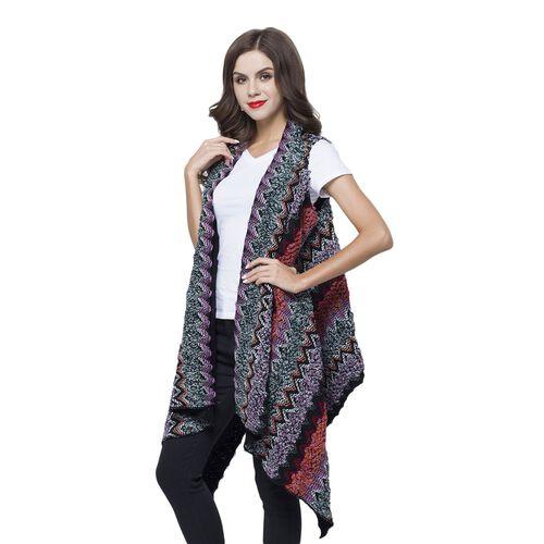 Italian Designer Inspired Black, Purple and Multi Colour Zigzag Pattern Longline Gilet (Free Size)