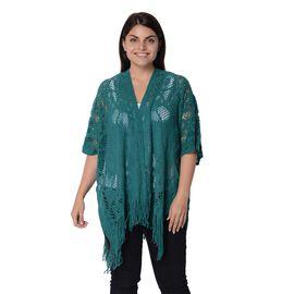 Knit Hollow Snowflake Pattern Kimono with Tassels (Size 85x65+14 Cm) - Dark Green